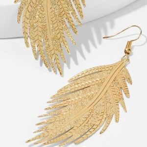 Gold Lightweight Delicate Leaf French Wire Earring